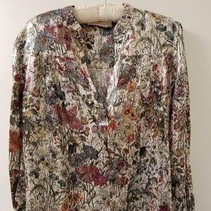 TORY BURCH Silk Metallic Multi-color Floral Tunic